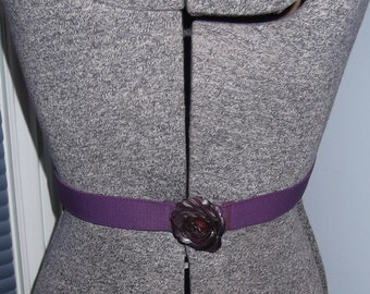 Purple  Elastic Strech Belt With Plastic Rosette Buckle