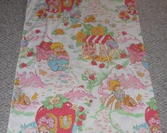 80s Strawberry Shortcake and Friends Twin Flat Sheet