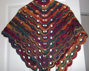 Shawl - Crocheted Triangle Shawl - Lace Pattern - Mixed Color Self-Striping