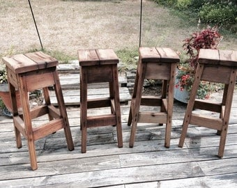 Weathered Antique Rustic Farmhouse Stools