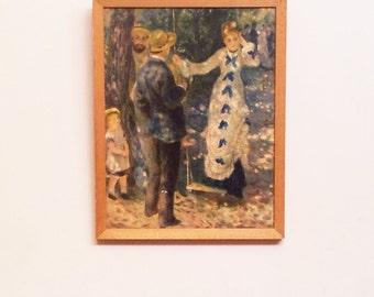 Vintage Art Print. Framed Art. Framed French Art. Auguste Renoir Print.  La Balançoire. The Swing. Wooden Frame.