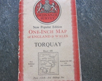 1946 Vintage Ordnance Survey Map of Torquay Sheet 188