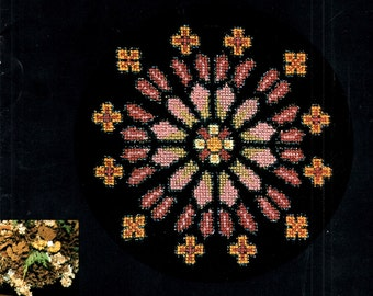 Rose Windows Stained Glass Church Religious Geometric Flowers Crosses Stars Counted Cross Stitch Bargello Embroidery Craft Pattern Leaflet
