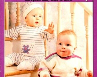 Baby Fun Knitting Pattern Directions Infant Sweater Hat Pants One Piece Sock Sets Stripes Teddy Bears Swan Hearts Craft Leaflet Book 065