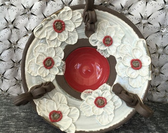 Ceramic Serving Bowl, Dish with Poppy Flowers in Summer White and Poppy Red on Black Mountain