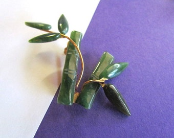 Vintage Asian Carved Jade Bamboo Leaves Brooch