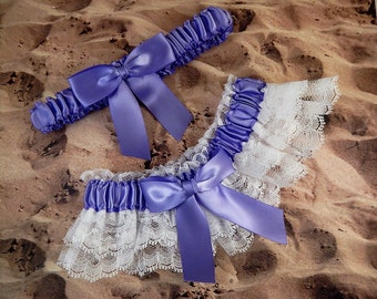 Iris Purple Ribbon White Double Layer Lace Bridal Wedding Garter Toss Set