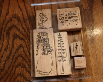 1997 Retired Stampin Up Let It Snow Wood Mounted Stamp Set of 6 Christmas