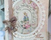 Beatrix Potter Pink Greeting Card...Baby Shower Pink Christening Classic Peter Rabbit...Fold Over Card  ECS