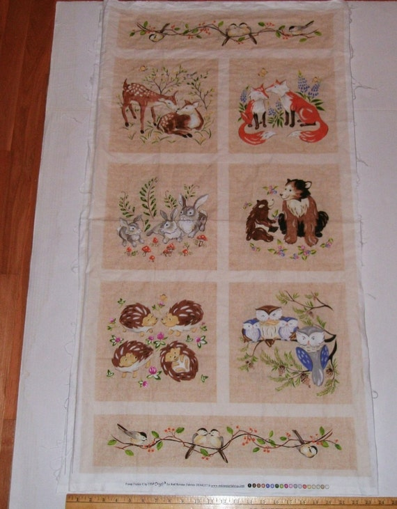 Fabric Wall Hanging Panel Forest Animals Playful Animal Babies