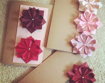Roses Origami Greeting Cards: Set of 3, Mother's Day Cards, Easter Cards