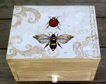 Bee and Ladybug Wood Jewelry Box, Keepsake Box, Decoupaged Trinket Box
