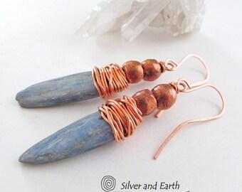 Kyanite Earrings, Raw Stone Earrings, Blue Kyanite Jewelry, Earthy Organic Jewelry, Natural Stone Earrings, Copper Wire Wrapped Earrings