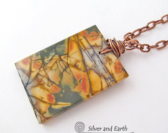 Red Creek Jasper Pendant, Earthy Natural Stone Necklace, One of a Kind Jewelry, Autumn Jewelry, Mens Necklace, Womens Necklace, Fall Jewelry