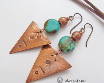 Copper Triangle Earrings, Natural Turquoise Earrings, Geometric Jewelry, Boho Tribal Earrings, Metalwork, Handmade Rustic Bohemian Jewelry