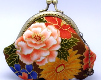 Peony and chrysanthemum - Japanese Kimono Fabric - Small clutch / Coin purse (JS-33) R1