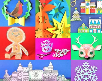 Holiday craft activity pack featuring 6 fun paper craft activities. Instantly download b&w templates for art activities - by Happythought.