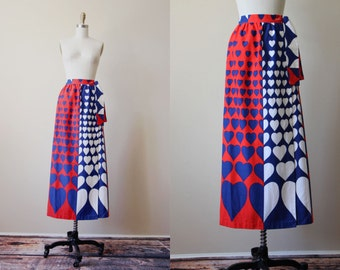 60s Skirt - Vintage 1960s Novelty Print Skirt - Mod Hearts Colorblock Maxi Skirt M L - Love, American Style Wrap Skirt