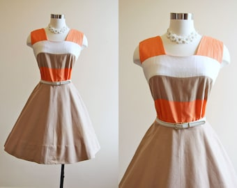50s Dress - Vintage 1950s Dress - Color Block Cocoa Orange Cotton Full Skirt Party Sundress L - Sherbet Dress