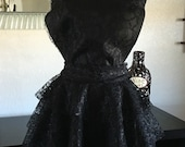 "Reserved for Lisa - black lace apron.  13"" bib"