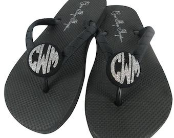Glitter Monogram Flip Flops - Bridesmaid or Bride Wedding flip flop Sandals- Silver Glitter Monogrammed Personalization