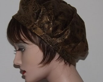 Now on Sale, Ladies Brown Faux Leather Fabric Beret
