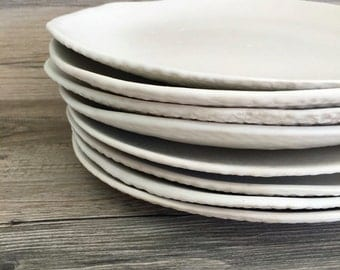 "White ceramic dinner  plates - Set of 4 ""white on white"" handmade ceramic dinnerware - tableware - wedding gift"