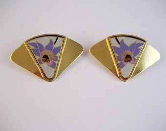 CLOSING SALE Laurel Burch cloisonne enamel flower earrings. Clip ons. Signed.