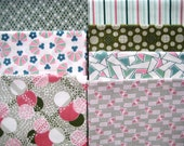 Fabric Destash  OOP Judie Rothermel Art Nouveau Prints in Pink and Green 7 Fat Quarters