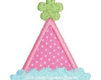 328 Girl mini/add a Birthday Hat Machine Embroidery Applique Design