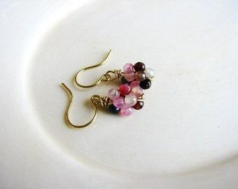 Multicolored Bead Earrings, Stone Agate Earrings, Cluster Dangle Earrings, Minimalist Earrings, Pink Earrings, Green Earrings, Geology