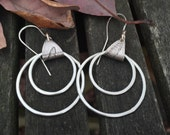 Sterling Silver Hoop Fern Earrings Hand Forged
