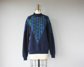 Vintage Wool Ski Sweater | Nordic Sweater | Wool Pullover Sweater | Oversized Sweater