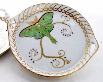 Luna Moth Cookie Tray Hand Painted Porcelain Serveware Luna Moth Tabletop Accessory