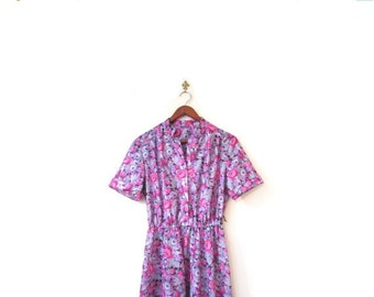 BTS SALE Vintage 80s Pink and Purple PIXELATED Floral Day Dress xs s