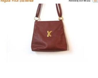 BTS SALE Vintage 90s Chestnut Brown Italian Leather Paloma Picasso X Bucket Bag Shoulder Purse