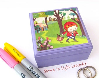 Little Red Riding Hood Box - Modern Fairytale Magnetic Lidded wooden box - Pick your own Custom Color