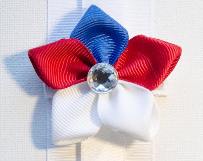 Featured listing image: Hair Bow - Patrotic Grosgrain 5 Petal Hair Flower