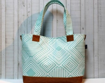 Phase in Aqua with Vegan Leather - Tote Bag /  Diaper Bag -  Medium / Large Bag