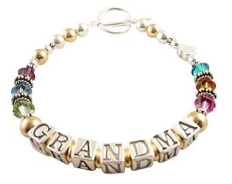 Mothers Bracelet Mother Bracelet Name Grandma Bracelet Gold Sterling Silver Mother's Personalized ID Mom Birthstone Swarovski Crystal Gift