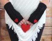 Fingerless Gloves, Knit Fingerless Gloves, Black Fingerless Gloves Red Bow Half Finger Gloves Winter Gloves Mittens Lace Gloves Arm Warmers
