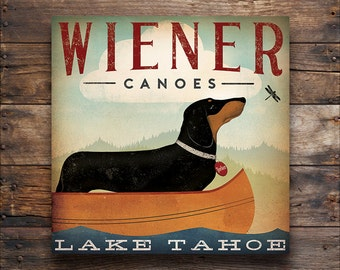 Wiener Dog Dachshund FREE TEXT CUSTOMIZATION Dog Canoes Ready-to-Hang Stretched Canvas Wall Art Fowler Native Vermont