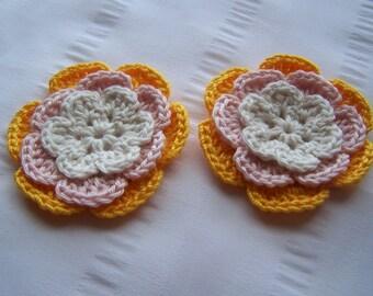 Flower crochet motif 2.5 inch cotton natural light pink yellow