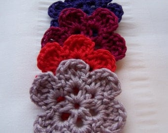 Flower crochet motif 1.5 inch cotton set of 4 red purple lavender respberry