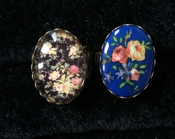 Vintage Floral - 90s Floral - Japanese Cherry Blossom Postage- Adjustable Filigree Rings