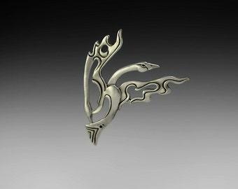 Swan Spirit Pin (Trumpter), Pewter