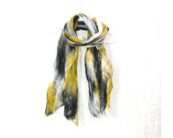 Cobweb Felted Scarf Gift for Her Wool Scarf Winter Scarf Fall Scarf Womens Scarf Winter Fashion Yellow Black White TAFA OOAK Under 50