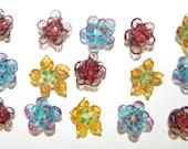 Multicolor Flower Lampwork Beads - 15 Pieces  Lot