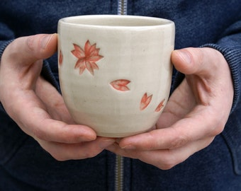 Hanami tea beakers - simply clay handmade floral pattern cups
