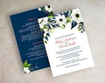 Floral Wedding Invitations, Watercolor Wedding Invitation, Navy Blue And  Coral, Anemone, Botanical
